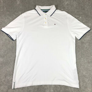 Tommy Hilfiger Golf White Polo Shirt Mens Large Short Sleeve 100% Cotton