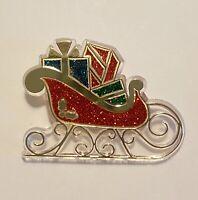 Hallmark Vintage 1985 CHRISTMAS SPARKLE SLEIGH Holiday Pins