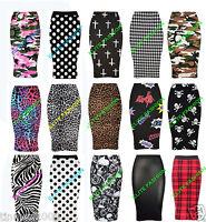 New Womens Ladies Printed Skirt Pencil Bodycon Wiggle Midi Skirt Plus Size 8-30