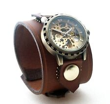 Brown Leather Watch Wrist band Bracelet Steampunk GOTHIC-Mechanical (automatic)