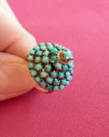 14K Solid Gold Antique Filigree Fine Turquoise Dome Princess Ring Size 3.25