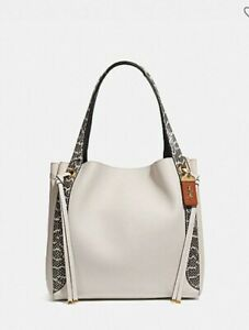 Coach Harmony Hobo in Colorblock with Snakeskin Detail Bag - Chalk/Brass