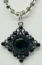 Black Cabochon in Diamond Shaped Silver Tone Frame Necklace