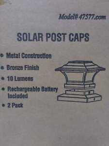 Solar 4''x4'' Bronze LED Deck Post Light with 6''x6'' Adepter 2pk by Hampton Bay