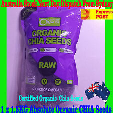 Absolute Organic Chia Seeds bk/wht 1.5kg High in Omega 3 NEW STOCK -express post