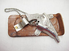 Miniature Toy Gun with Metal Holster Boys Leather Belt Accessory Vintage