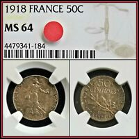 1918 Silver France 50 Centimes NGC MS64 Choice Unc 50c Vintage Classic Coin