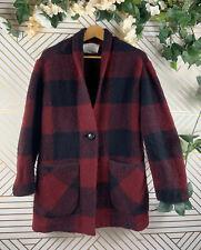 WILFRED FREE Buffalo Plaid Red Black Sweater Cardigan Coat XS