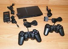 Sony (SCPH-70011) PlayStation PS2 Slim Charcoal Black Console Bundle **READ**