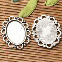3pcs dark silver owl charms  oval  shaped cabochon setting in 25x18mm EF3193