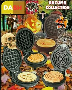 DASH Mini Waffle Makers: Autumn Collection. Skull, Maple Leaf, Pumpkin,  Web