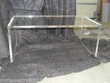 """Handcrafted Acrylic Coffee table, 1.25"""" thick, slab legs- 36"""" x 18"""" x 17"""""""