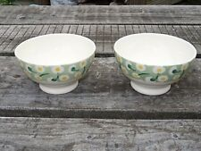 Collectable Emma Bridgewater Spongeware French Bowl x 2 - Daisy Light Green