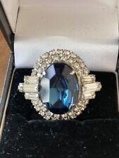 Vintage Jewellery - Blue Sapphire Diamante Brooch