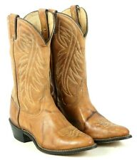 Wrangler Tan Leather Western Cowboy Boho Boots Vintage US Made Women's 8.5 M