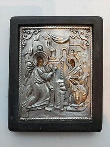 Annunciation of Virgin Mary Greek Byzantine Icon Silver 950