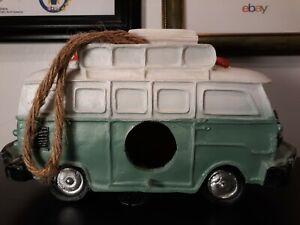 """Vintage 9"""" VW Volkswagen Van Bus W/ Surfboard - Hanging Birdhouse Bird House"""
