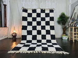 "Beni Ourain Moroccan Handmade Wool Rug 5'x8'3"" Checkered Berber White Black Rug"