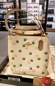 NWT Coach Town Bucket Bag With Apple Print With Crossbody Strap