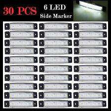 2X 12V 6 LED Side Marker Indicators Lights Lamp White For Truck Trailer Bus Boat