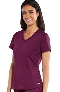 """Grey's Anatomy #058 V-Neck Detailed Scrub Top in """"Wine"""" Size XS"""