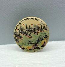 We Have Remembered The Maine US Battleship Pin Spanish-American War Pinback 1898