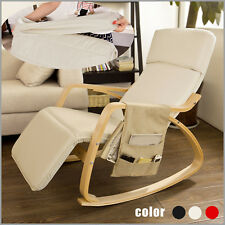SoBuy Rocking Chair With Adjustable Footrest Books Mags Holder Fst16-w UK