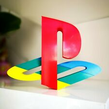 "Sony Playstation logo 7"" shelf display - Retro Video Games PS1 Logo"