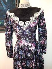 Gunne Sax Jessica McClintock Dress Prairie Cottagecore Dark Florals Vintage Vibe