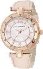 Anne Klein Women's 10/9994RGLP Rosegold-Tone Peach Leather Strap Watch