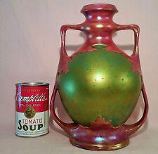 1873 ZSOLNAY VASE eosin green red art mounted antique pecs hungary vtg porcelain