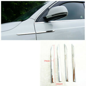 Chrome Car Door Side Fender Cover Protector Trim Strip Dagger Emblem Rustproof