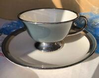 Flintridge China Contessa DUTCH BLUE PLATINUM COUPE Cup & Saucer MULTIPLE AVLBLE