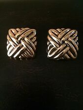 Vintage Gold Tone Square Knots Clip On Earrings Unsigned