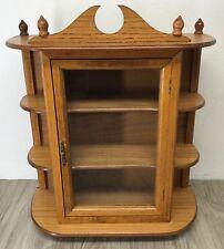 "23"" Oak Curio Cabinet Display Case Table Wall Mount Glass Door Shelf Vintage 80s"