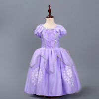 Kids Princess Sofia Cosplay Costume Girl Party Fancy Dress Halloween Clothes
