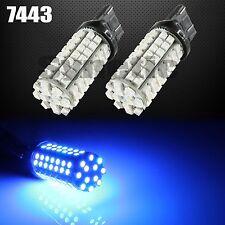 2x 7443 7440 96-SMD Blue Reverse Front Rear Side Marker Parking LED Light Bulbs