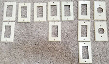 Lot of 12 Various Ivory/Beige Hard Plastic Decora / Round Outlet Covers Used