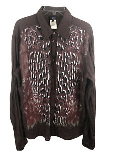 Just Cavalli Abstract Button Front Shirt Made In Italy - Size 56 Fits Large