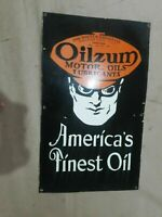 "Porcelain Oilzum Enamel sign size 20"" X 28"" inches"