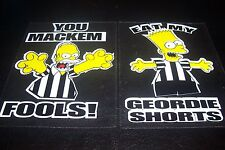 BART SIMPSON & HOMER SIMPSON NEWCASTLE STICKERS THE SIMPSONS TOON GEORDIES