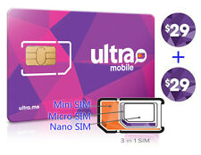 Preloaded ULTRA MOBILE Mini+Micro+Nano(3in1)SIM Card + $29X2 Month FREE SHIPPING