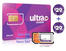 Vorinstallierte Ultra Mobile Mini + Micro + Nano (3in1) Sim Card + $29X2 Monat kostenloser Versand