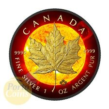 2015 Canada $5 SOLAR FLARE MAPLE Leaf 24k Gold & Ruthenium 1 Oz Silver Coin NEW