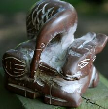Vintage Chinese Soapstone Hand Carved WATER BUFFALO & CRANE Heavy Figurine
