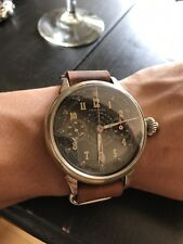 LARGE LEONIDAS VTG CHRONOGRAPH MONOPUSHER WATCH Column wheel horween strap