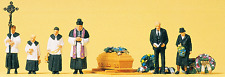 N scale Preiser CATHOLIC FUNERAL / CEMETERY Figures with Casket