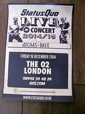 STATUS QUO WORLD TOUR 2014/15 LONDON A4 POSTER CHAS AND DAVE
