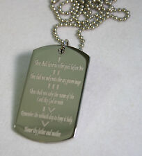 THE TEN COMMANDMENTS SOLID STAINLESS STEEL  DOG TAG NECKLACE RELIGIOUS