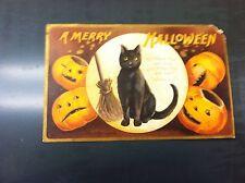 1908 Halloween postcard Black cat & jackolanterns